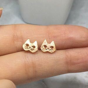 Jewelry - Minimalist Cat Earrings Rose Gold Studs
